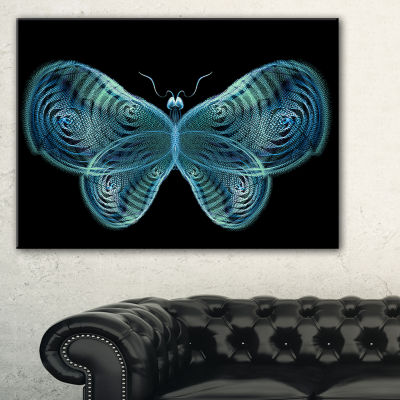 Designart Light Blue Fractal Butterfly In Dark Abstract Canvas Art Print - 3 Panels