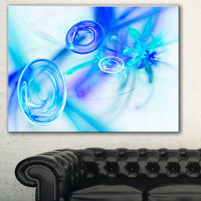 Designart Light Blue Fractal Desktop Abstract Art-3 Panels