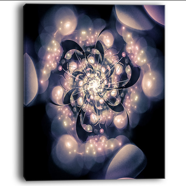 Design Art Light Blue Fractal Flower Pattern FloralArt Canvas Print