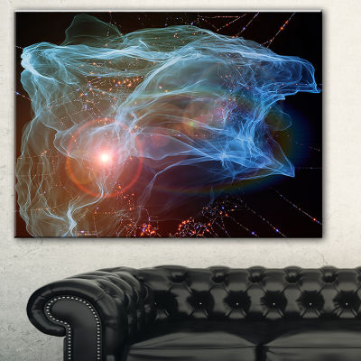 Designart Light Blue Lights Of Network Abstract Canvas Art Print - 3 Panels