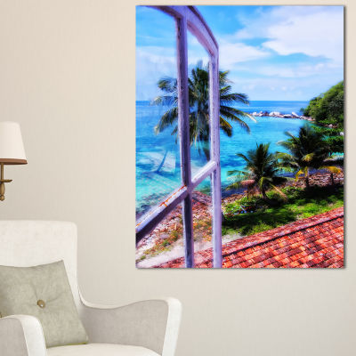 Designart Light House Window View Landscape PhotoCanvas Art Print - 3 Panels