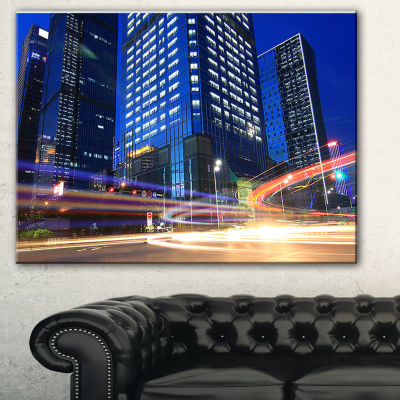 Designart Light Trails In Blue City Cityscape Digital Art Canvas Print - 3 Panels