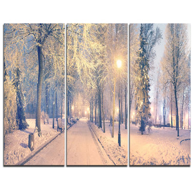 Designart Light Up Mariinsky Garden View LandscapePhotography Canvas Print - 3 Panels