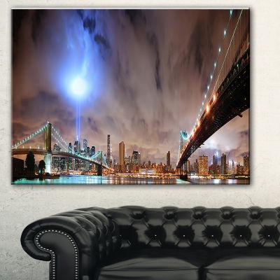Designart Lighted New York City Cityscape Photo Canvas Print - 3 Panels