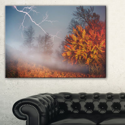 Designart Lighting In Yellow Autumn Forest Landscape Photography Canvas Print - 3 Panels