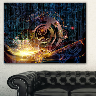 Designart Lights Of Gears Abstract Canvas Art Print - 3 Panels