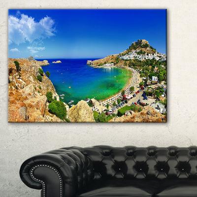 Designart Lindos Bay Greece Panorama Landscape Photography Canvas Print