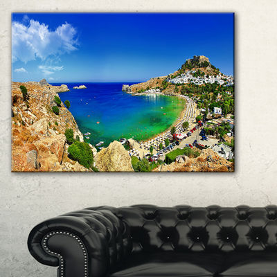 Designart Lindos Bay Greece Panorama Landscape Photography Canvas Print - 3 Panels