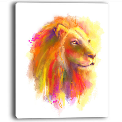 Designart Lion With Colorful Mane Animal Art Canvas Print