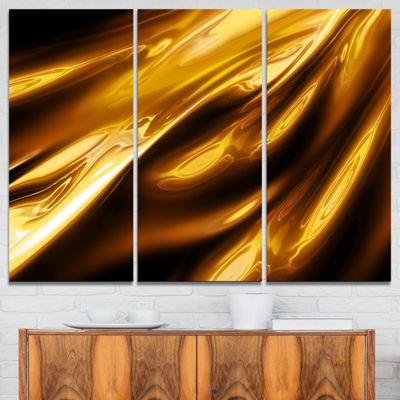 Designart Liquid Gold Texture Pattern Abstract Canvas Art Print - 3 Panels