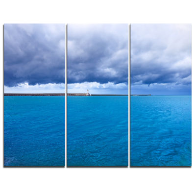 Designart Livorno Port Lighthouse Seascape CanvasArt Print - 3 Panels