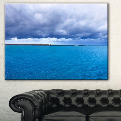Design Art Livorno Port Lighthouse Seascape CanvasArt Print - 3 Panels