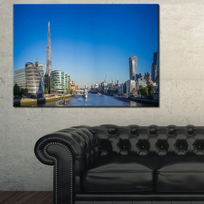 Designart London Panoramic Shot Cityscape Photo Canvas Art Print - 3 Panels