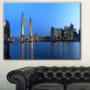 Designart London Tower Bridge In Blue Cityscape Photo Canvas Print