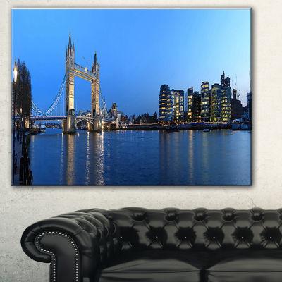 Designart London Tower Bridge In Blue Cityscape Photo Canvas Print - 3 Panels