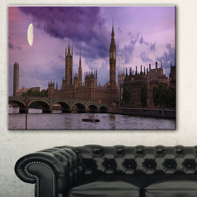 Designart London With Purple Sky At Sunset Cityscape Photo Canvas Print