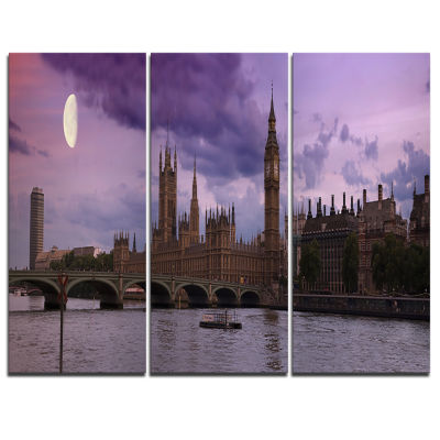 Designart London With Purple Sky At Sunset Cityscape Photo Canvas Print - 3 Panels