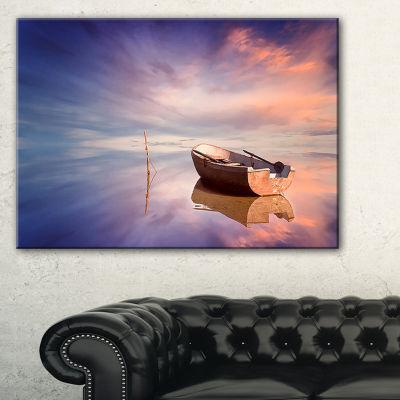 Designart Lonely Boat In Colorful Sea Seascape Canvas Art Print
