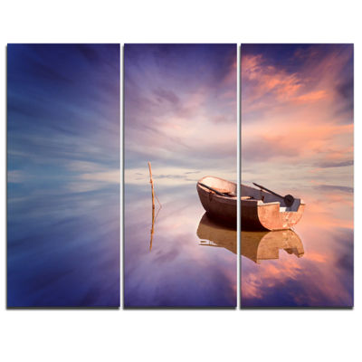 Designart Lonely Boat In Colorful Sea Seascape Canvas Art Print - 3 Panels