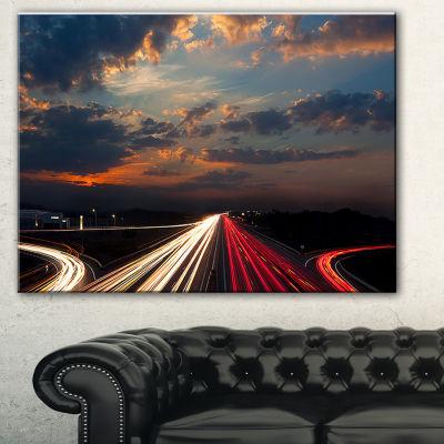 Designart Long Exposure Traffic Abstract Canvas Art Print - 3 Panels