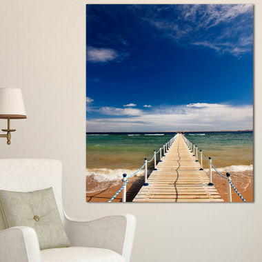 Designart Long Pontoon In Sea Bridge and Pier Photography Canvas Print