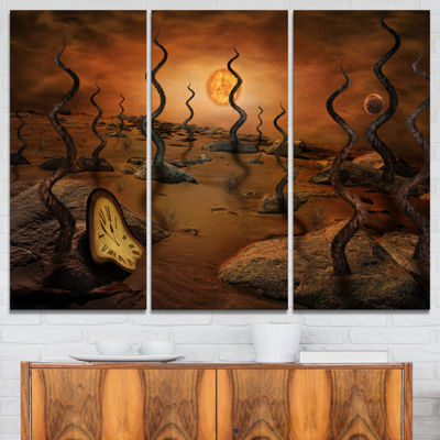 Designart Looking To Future Abstract Canvas Art Print - 3 Panels