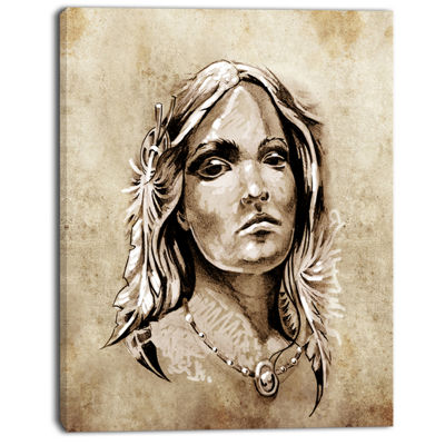Designart Lovely And Passionate Look Abstract Portrait Canvas Print