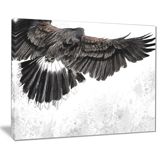 Designart Low Flying Eagle Illustration Animal Canvas Art Print