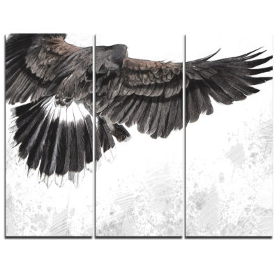 Designart Low Flying Eagle Illustration Animal Canvas Art Print - 3 Panels