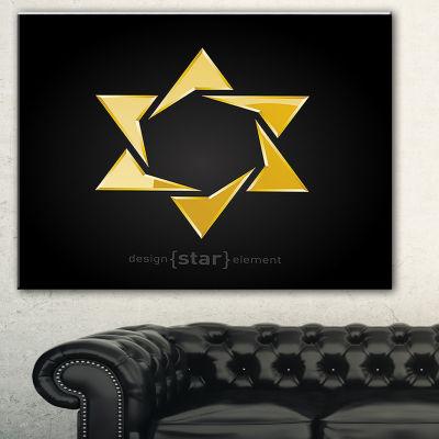 Designart Luxury Golden Star Abstract Canvas ArtPrint - 3 Panels