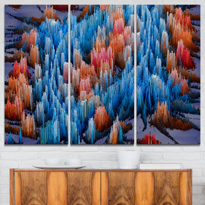 Designart Macro Render Structure Blue Red CanvasArt Print - 3 Panels