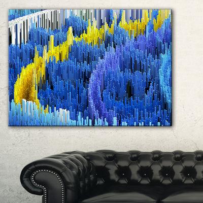 Designart Macro Render Structure Blue Yellow Canvas Art Print - 3 Panels