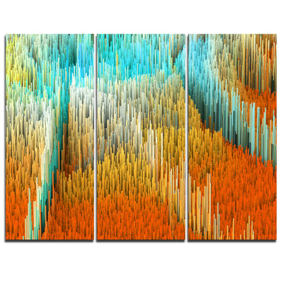 Designart Macro Render Structure Yellow Orange Canvas Art Print - 3 Panels
