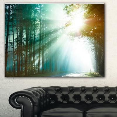 Designart Magic Blue Forest Landscape PhotographyCanvas Print - 3 Panels