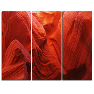 Designart Magic Colors Of Antelope Canyon Landscape Photography Canvas Print - 3 Panels