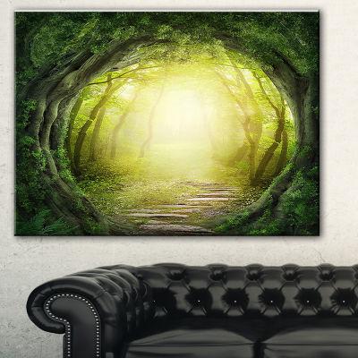 Designart Magic Green Forest Landscape PhotographyCanvas Print