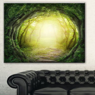Designart Magic Green Forest Landscape PhotographyCanvas Print - 3 Panels