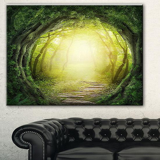 Designart Magic Green Forest Landscape PhotographyCanvas Print - 3 Panels