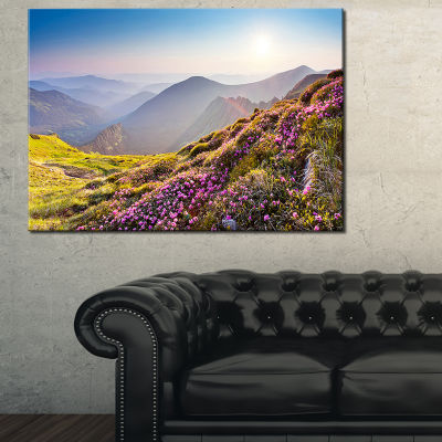 Design Art Magic Pink Flowers On Mountains Landscape Photography Canvas Print - 3 Panels