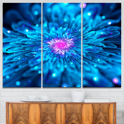 Designart Magical Blue Glowing Flower Floral ArtCanvas Print - 3 Panels