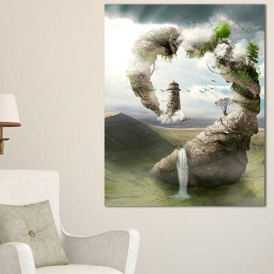 Designart Magical Bridge To Lighthouse LandscapePhoto Canvas Art Print - 3 Panels