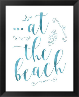 Metaverse Art At the Beach - Blue Framed Wall Art