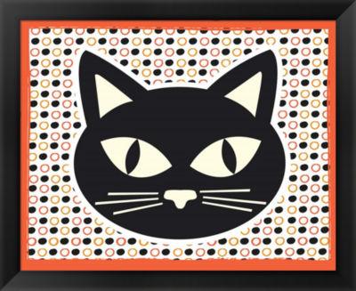Metaverse Art Black Cat Framed Wall Art