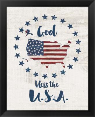 Metaverse Art God Bless USA Framed Wall Art