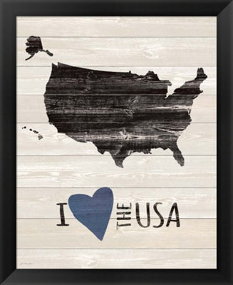 Metaverse Art I Heart the USA Framed Wall Art