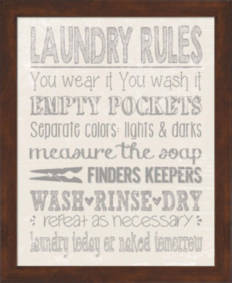 Metaverse Art Laundry Rules Framed Wall Art