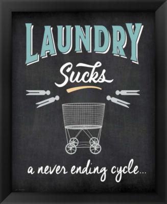 Metaverse Art Laundry Sucks Framed Wall Art