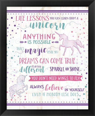 Metaverse Art Life Lessons Unicorn Framed Wall Art