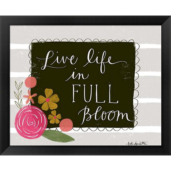 Metaverse Art Live Life in Full Bloom Framed WallArt