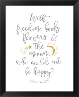Metaverse Art Oscar Wilde Freedom Quote Framed Wall Art